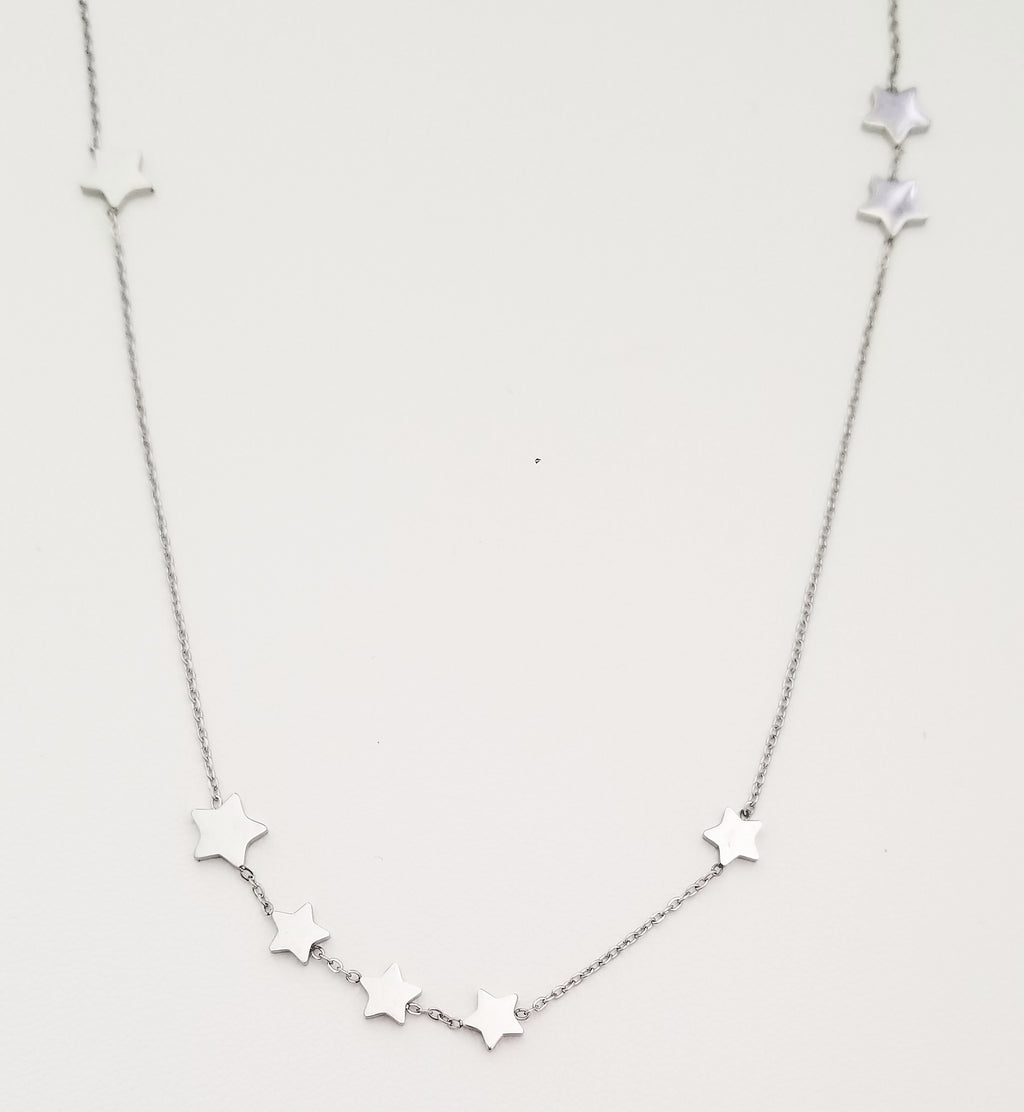 Multi Star Silver Necklace