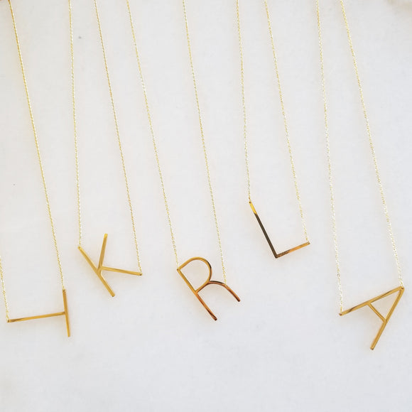 Oversized Sideways Gold Initial Necklace