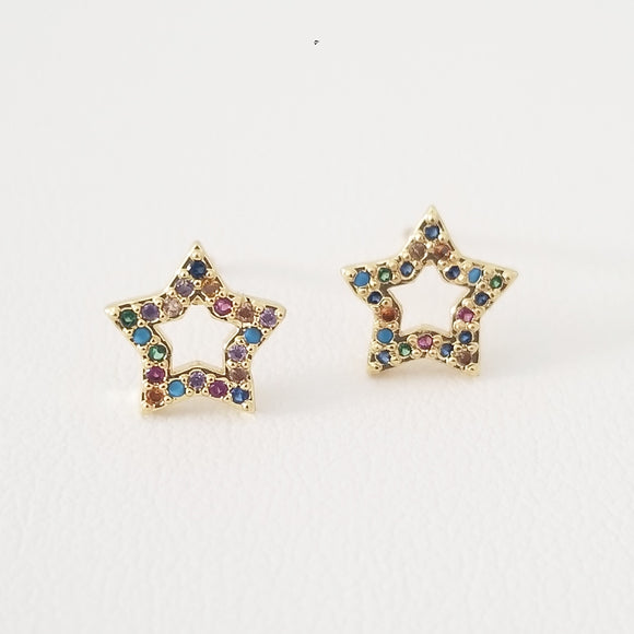 Star Multi Color Stud Earrings