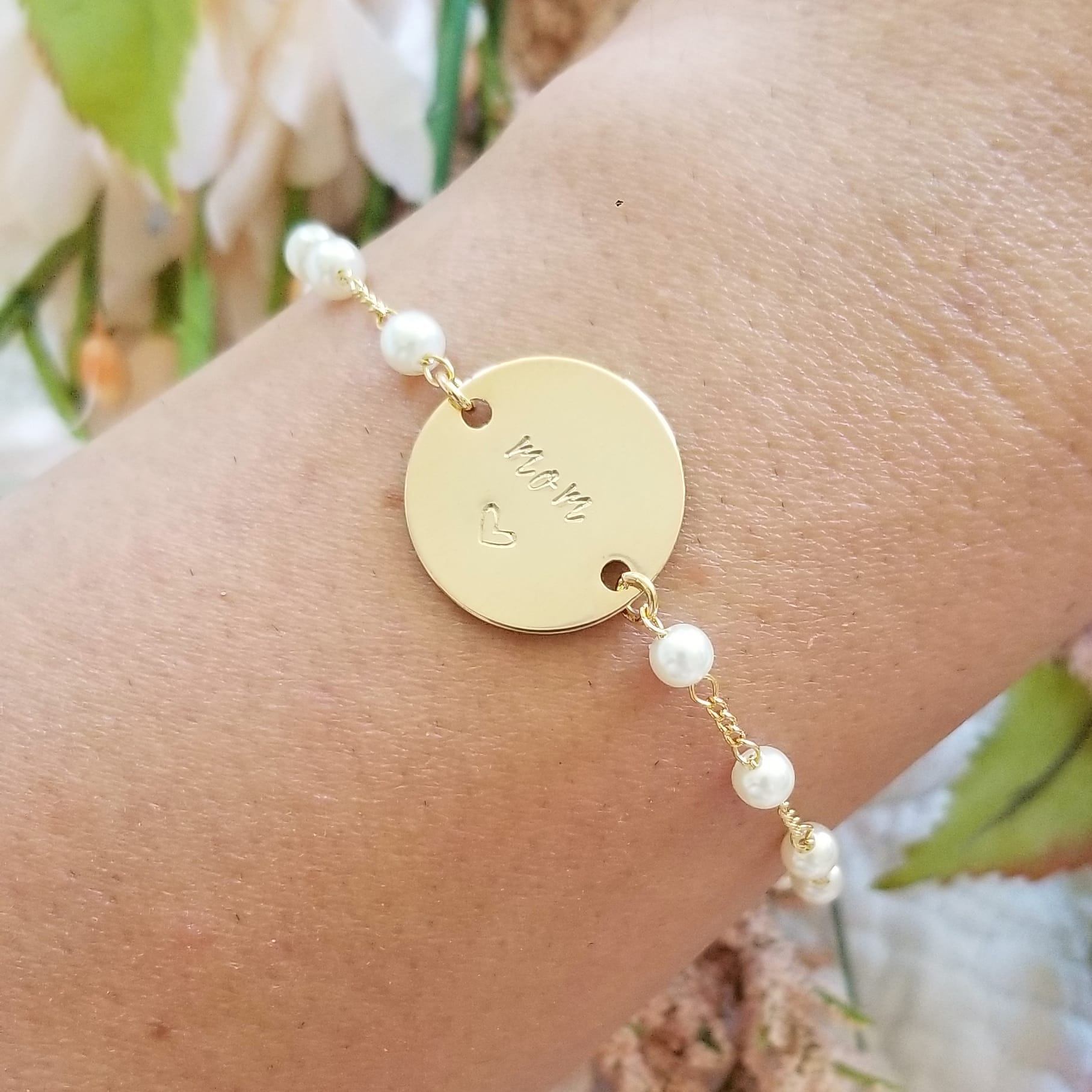 Personalized Gold Coin Chain Bracelet