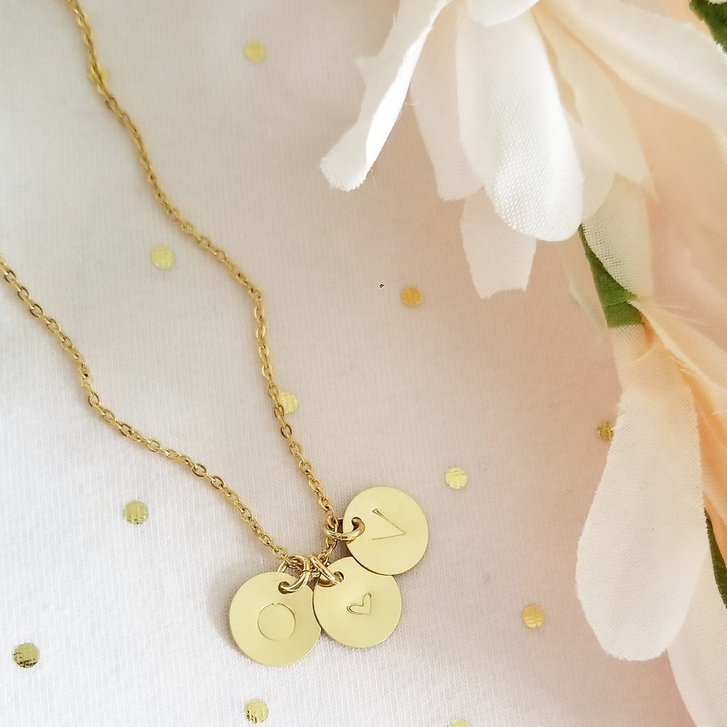 Round Gold Disc Necklace