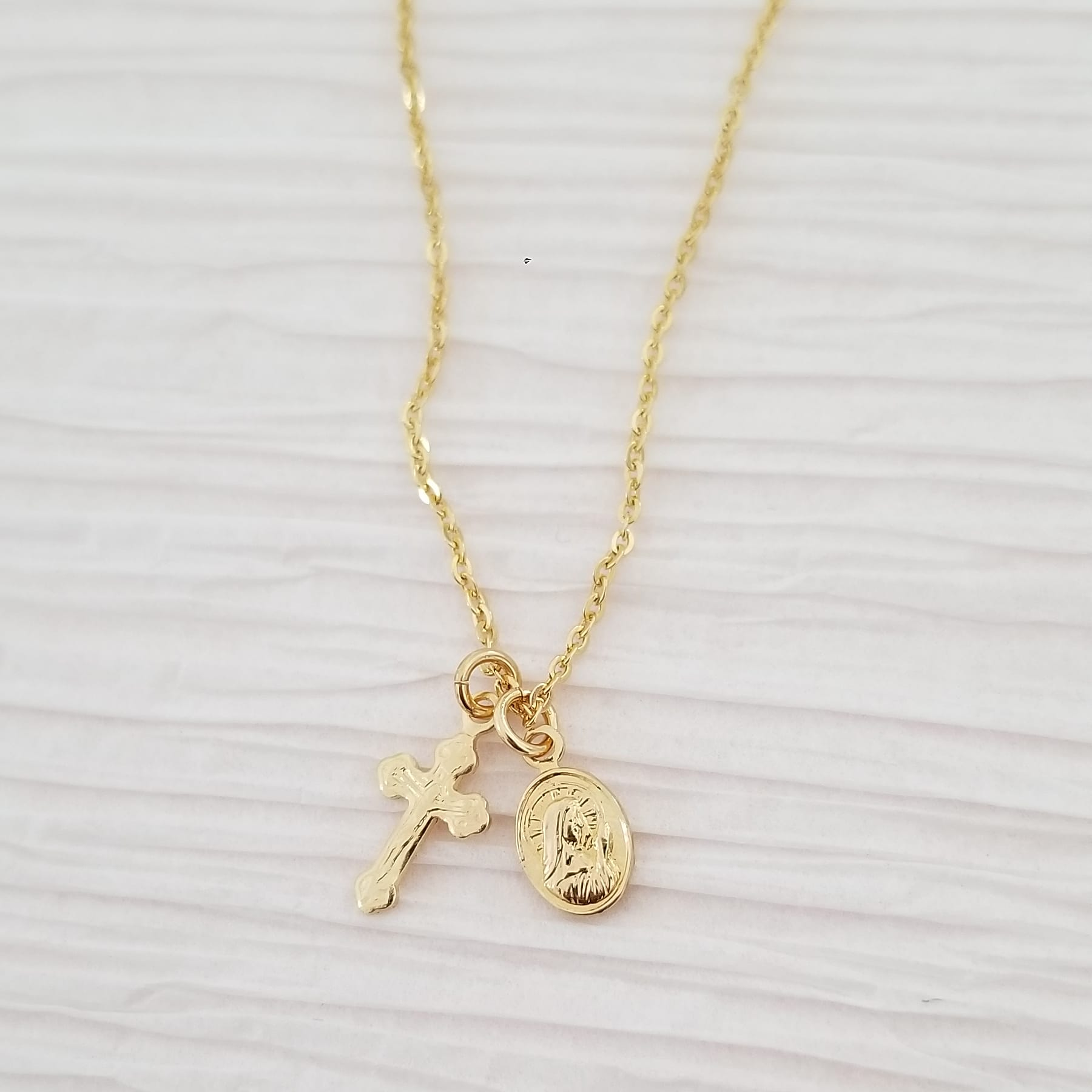 Cross + Saint Petite Necklace