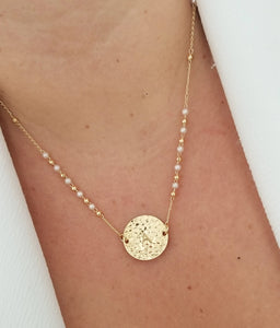 Hammered Initial Coin Necklace