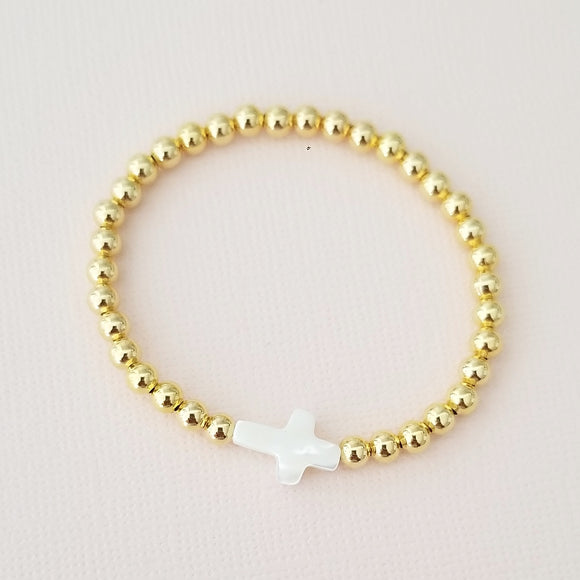 Kids Gold Pearl Cross Bracelet
