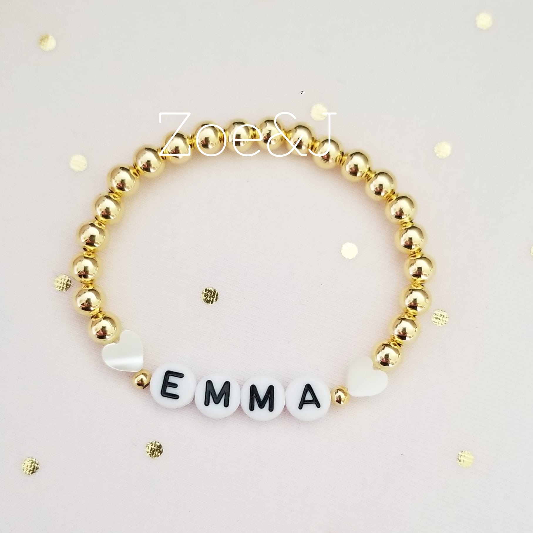 Kids Gold Beaded Name Bracelet with Hearts