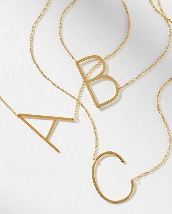 Oversized Sideways Initial Necklace