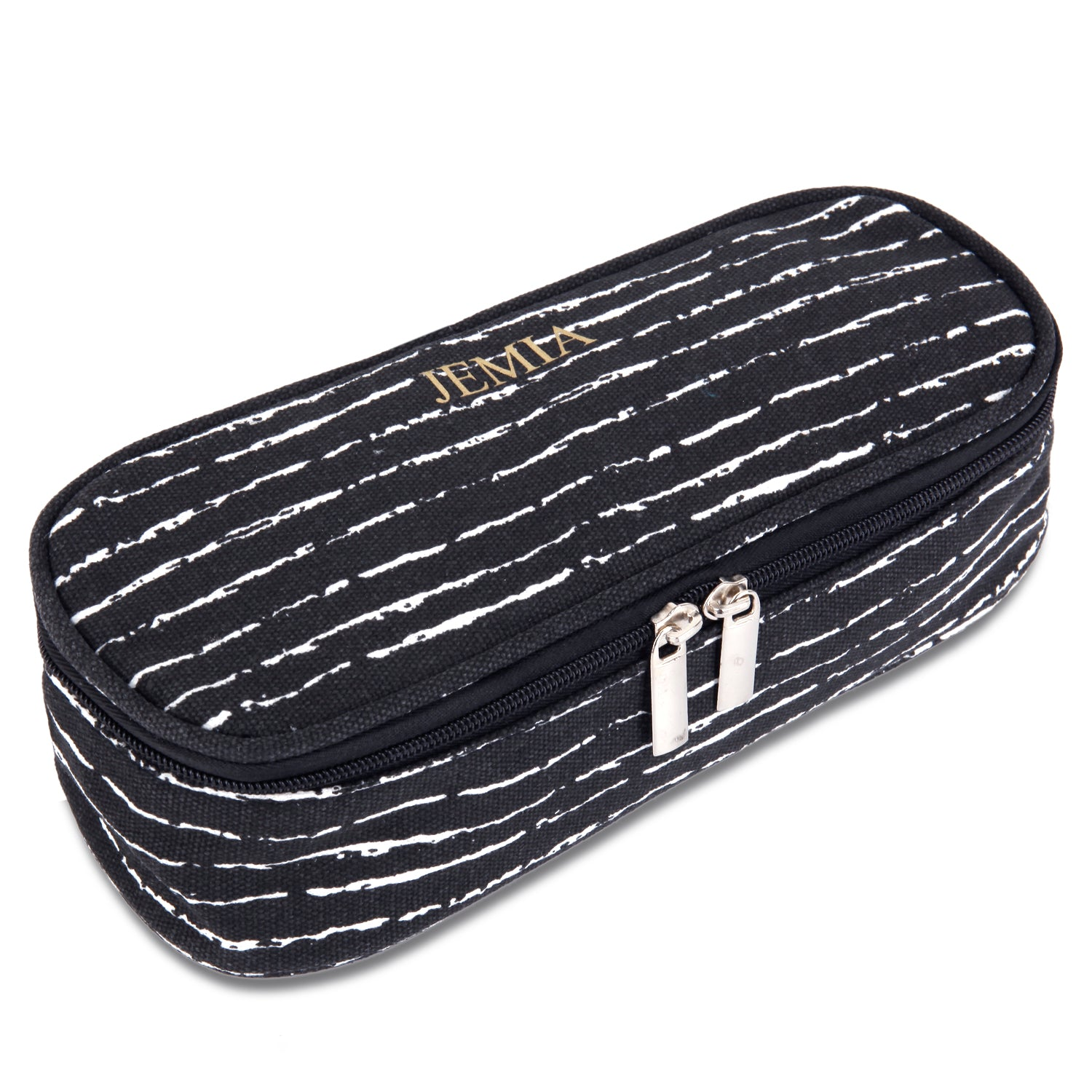 Black & Random White Pencil Case with Mesh Slip Pocket