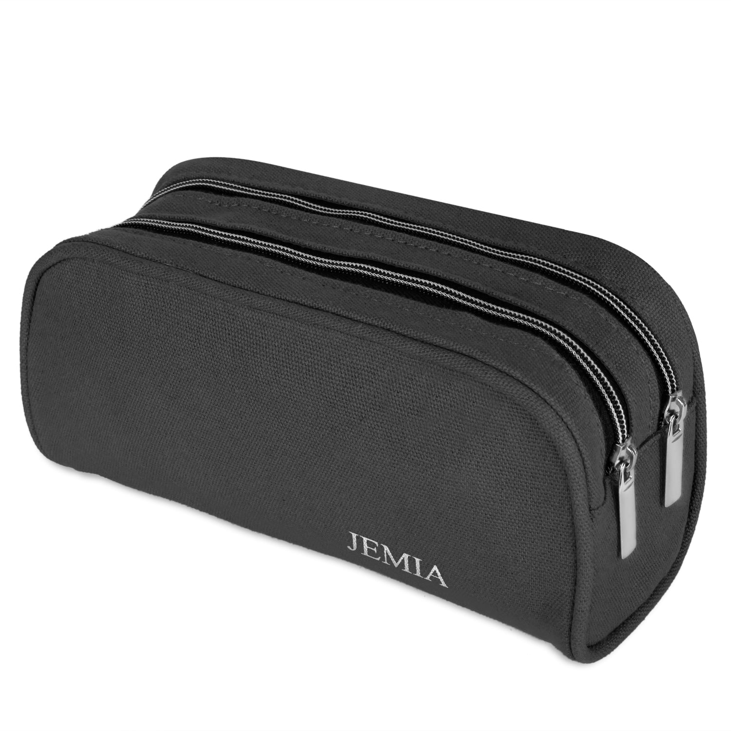 Dual Compartments Pencil Case with Mesh Pockets (Plain, Canvas) - JEMIA