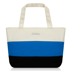 White-Blue-Black Stripes Canvas Tote Bag - JEMIA Industrial Co. Ltd