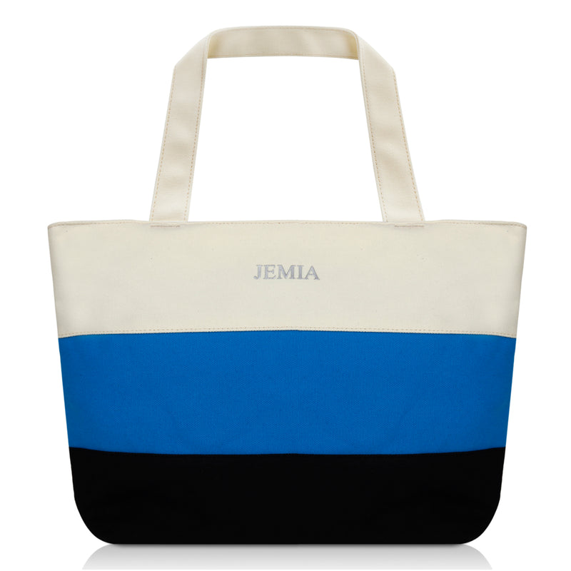 White-Blue-Black Stripes Canvas Tote Bag - JEMIA