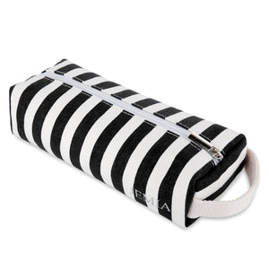 JEMIA Stripe Canvas Cylindrical Pencil Case- Zippered Pencil Pouch To Be Used As A Pencil Holder