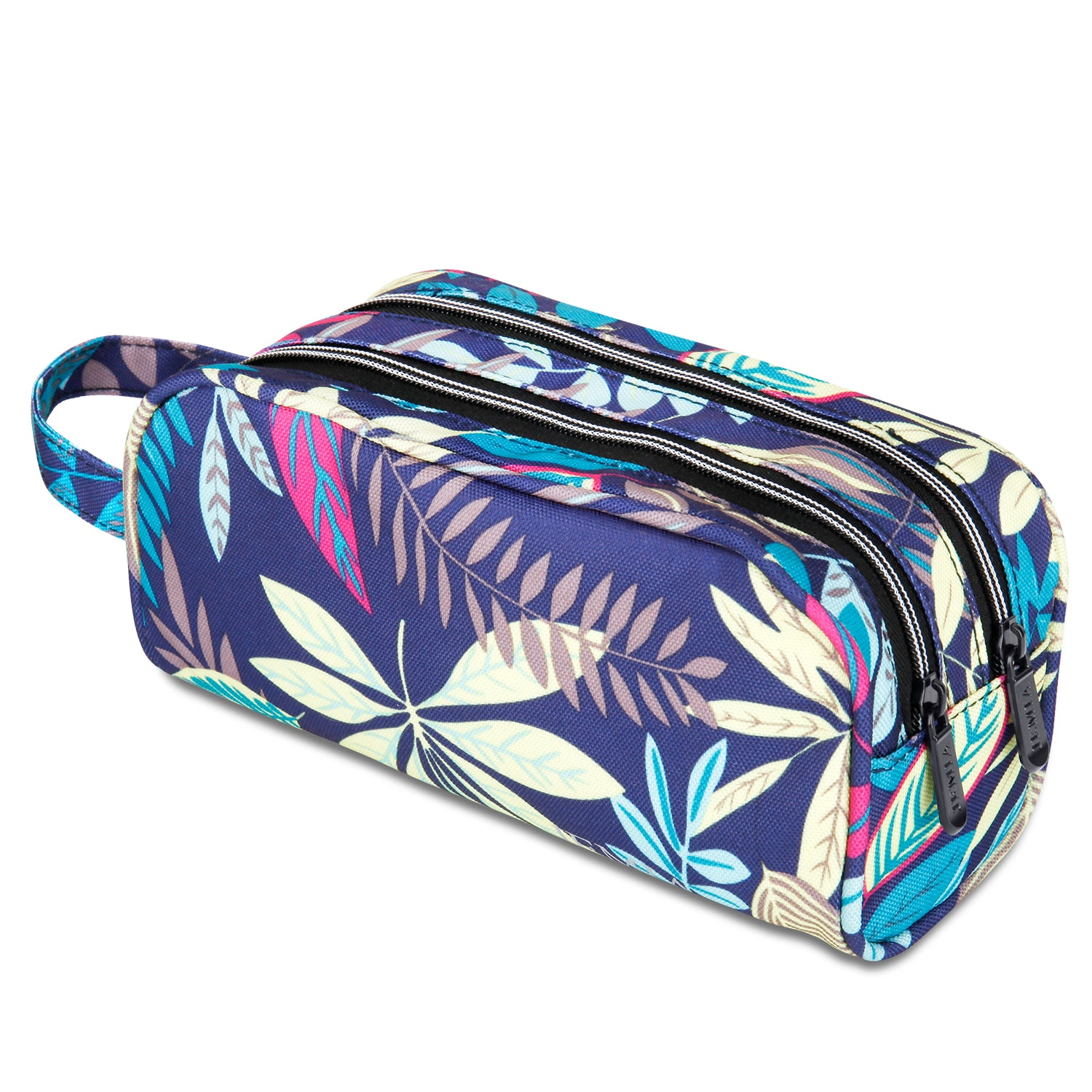 Blue Leaves Pencil Case with 2 Independent Compartments (Blue Leaves, Polyester) - JEMIA
