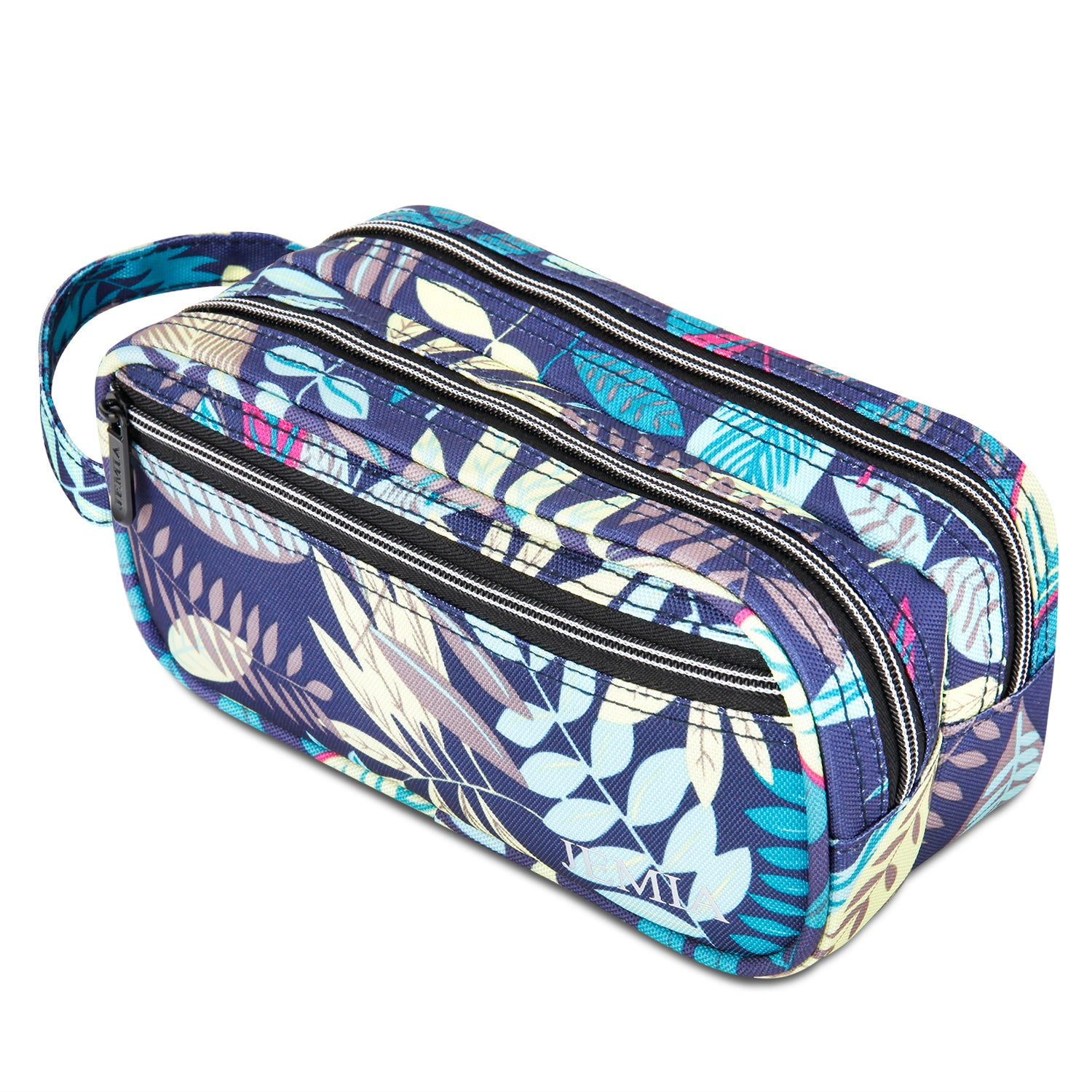 Multi Compartments and Handle Strap Pencil Case (Blue Leaves, Polyester) - JEMIA