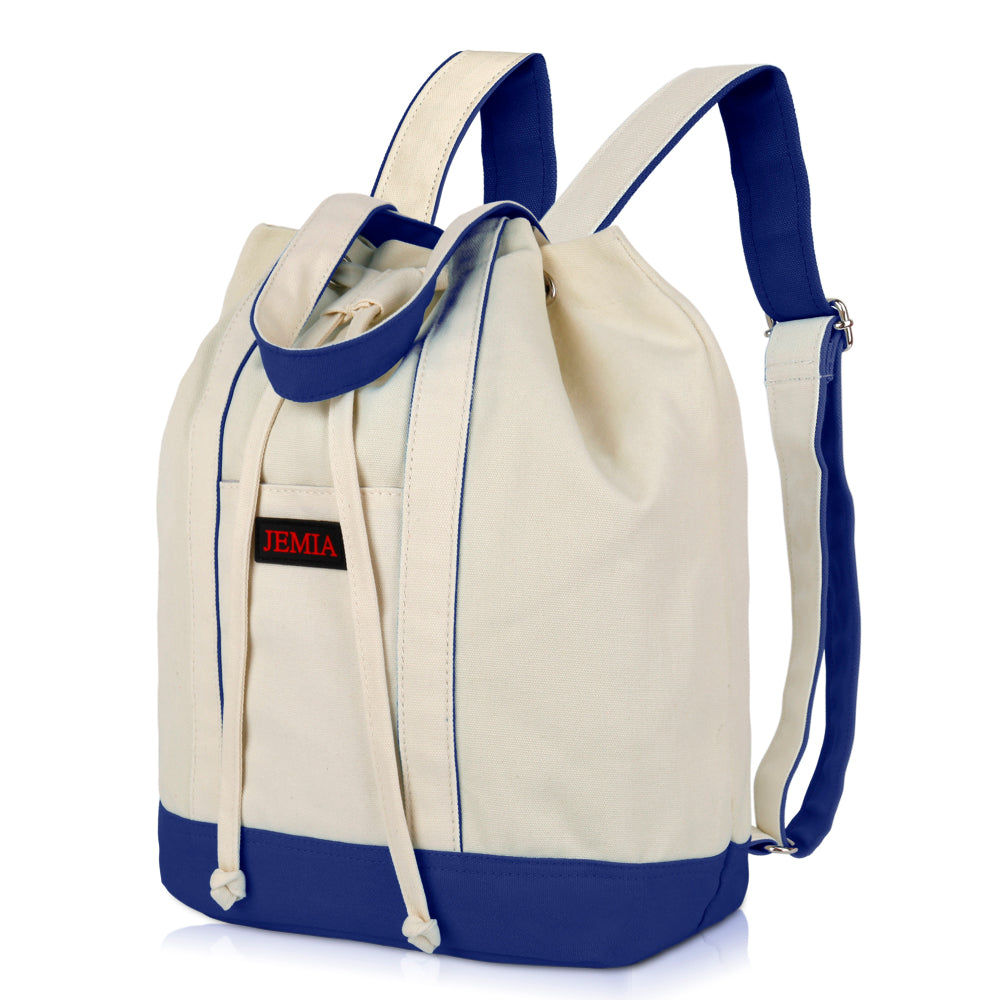 Drawstring Canvas Backpack with Zipper and Slip Pocket in the Compartment - JEMIA