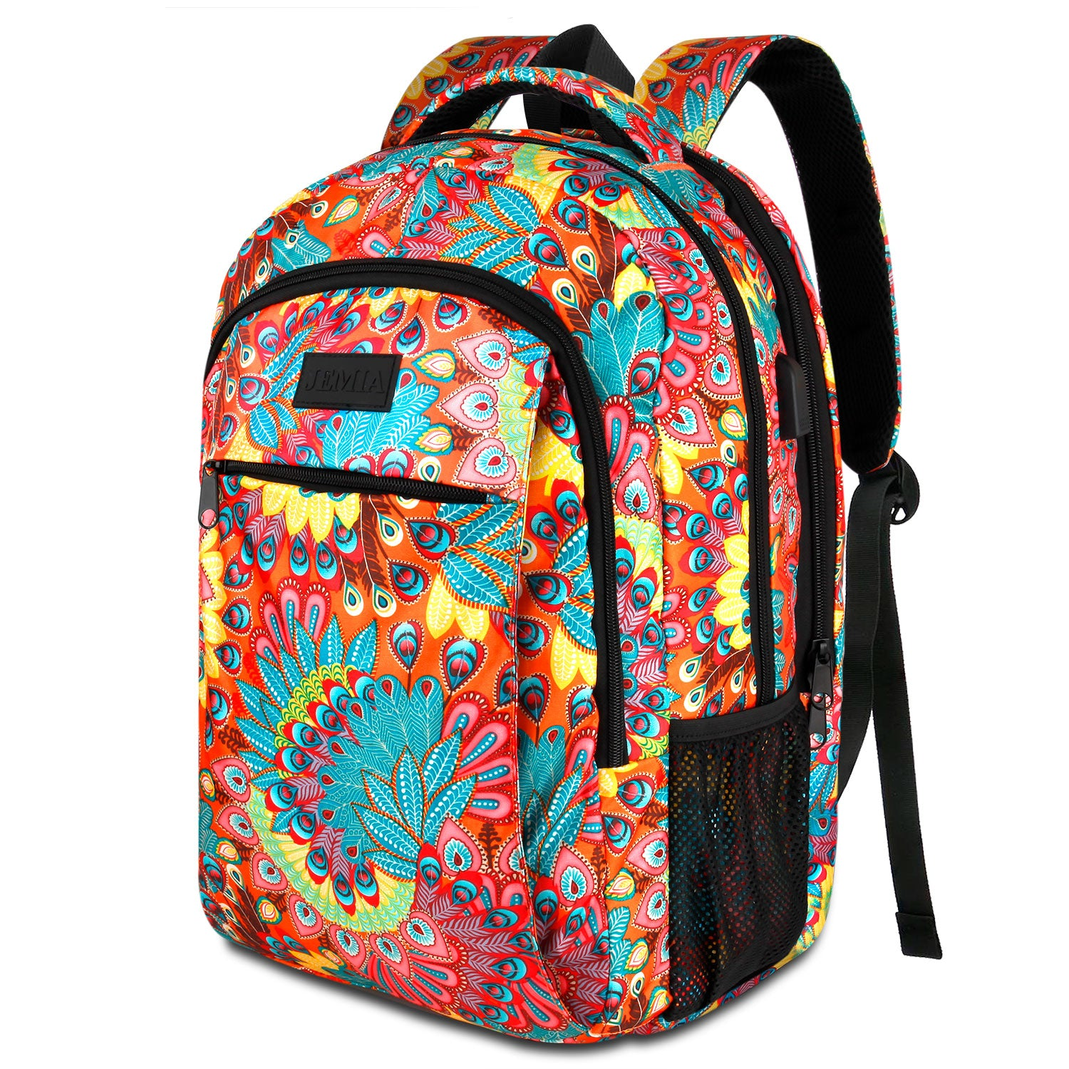 Multi Compartments Backpack for Multipurpose Travel (Peacock Feather, Polyester) - JEMIA Industrial Co. Ltd