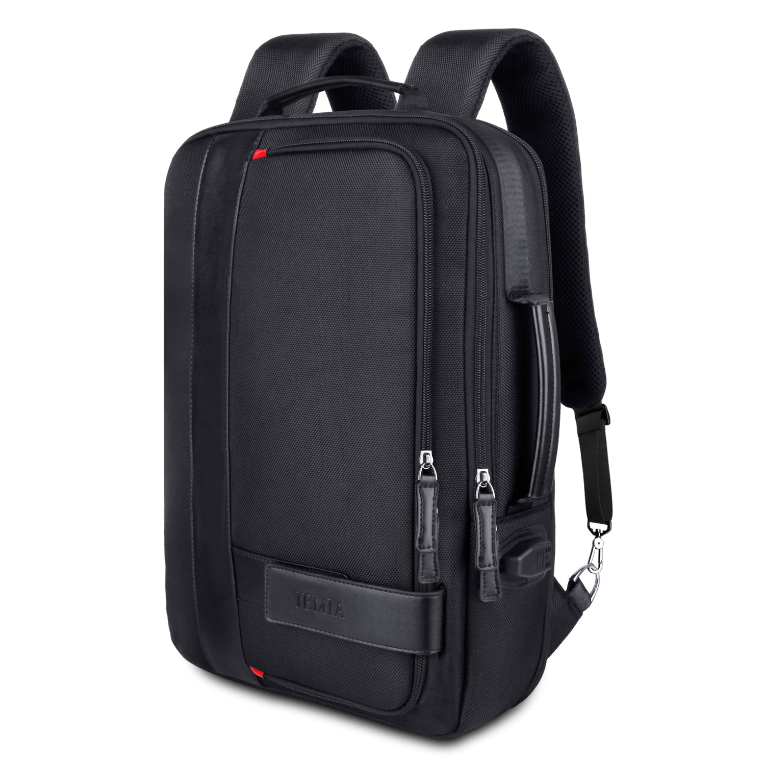 Black Expandable Backpack with USB Charging Port and Laptop Compartment