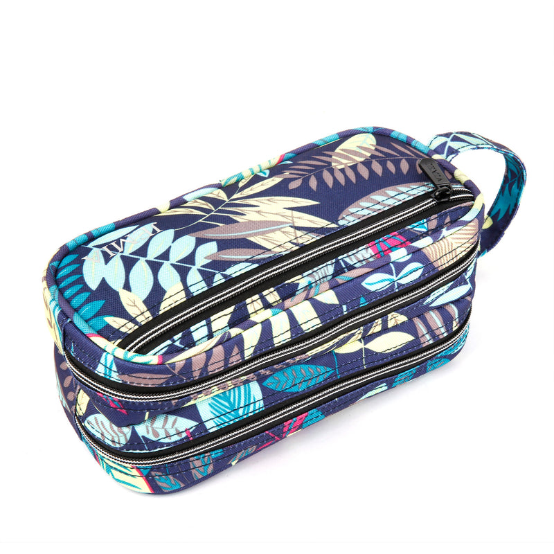 Multi Compartments and Handle Strap Pencil Case (Blue Leaves, Polyester) - JEMIA Industrial Co. Ltd