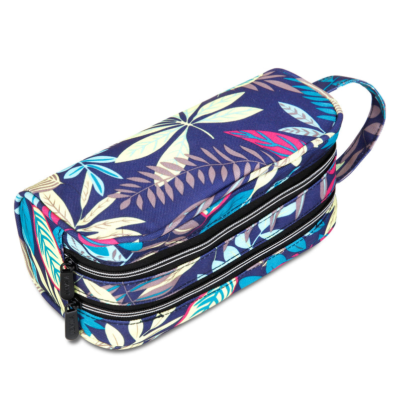 Blue Leaves Pencil Case with 2 Independent Compartments (Blue Leaves, Polyester) - JEMIA Industrial Co. Ltd