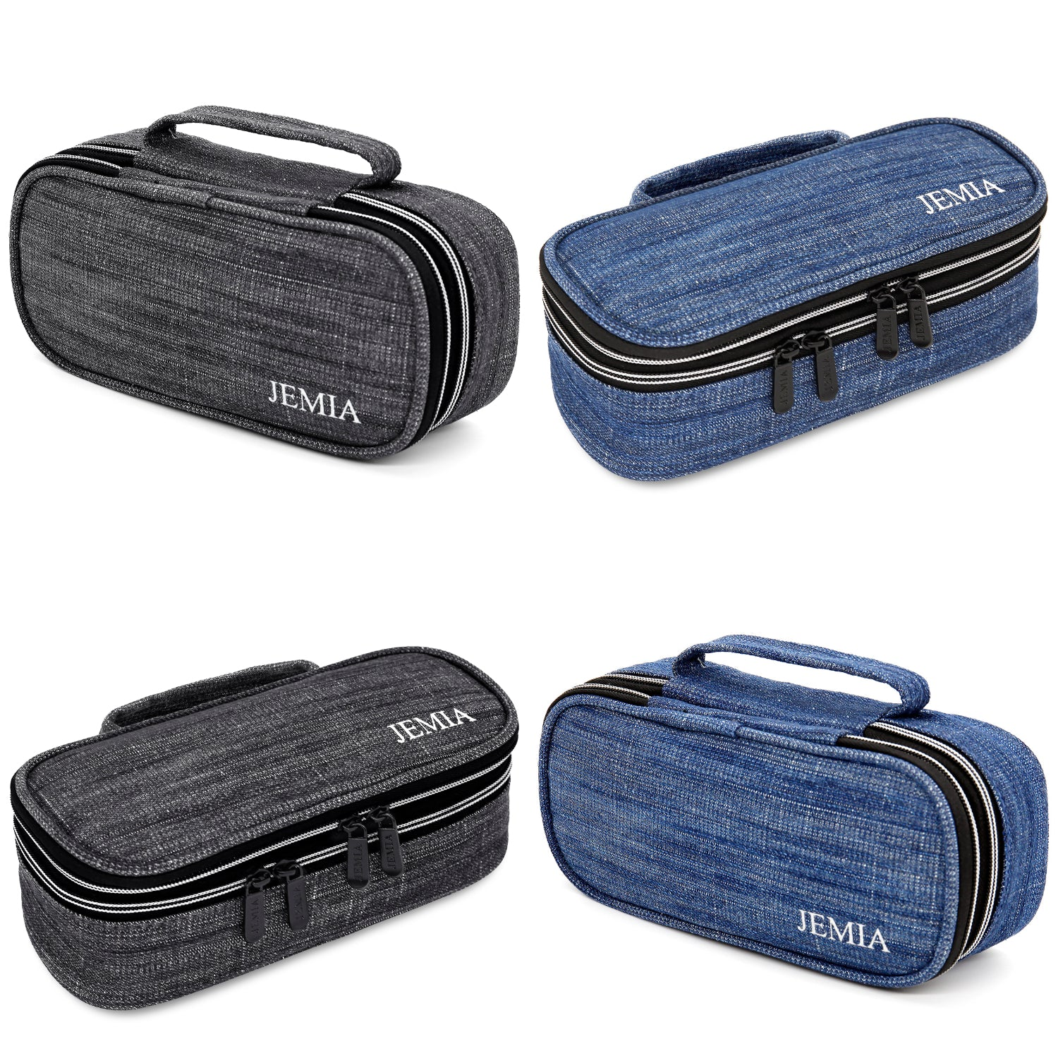 Square Dual Compartments and Handle Strap Pencil Case Mesh, Slot Pockets (Denim Jean Style, Canvas) - JEMIA