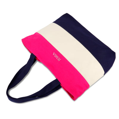 Pink, White, Blue Stripes Canvas Tote Bag - JEMIA