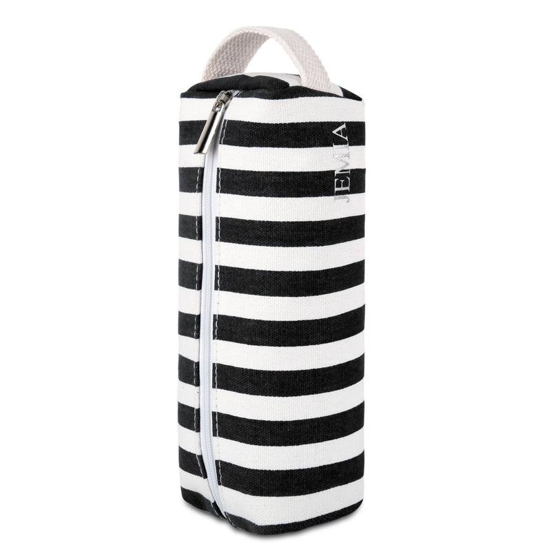 Single Compartment and Handle Strap Pencil Case (Black White Stripes, Canvas) - JEMIA
