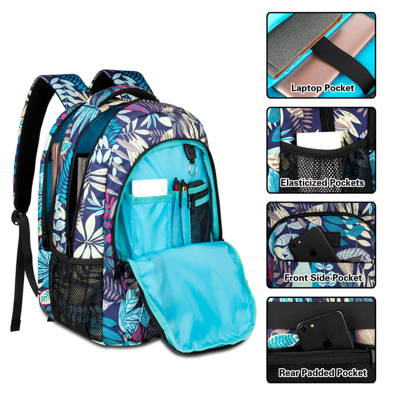 Multi Compartments Backpack for Multipurpose Travel (Leaves, Polyester) - JEMIA Industrial Co. Ltd