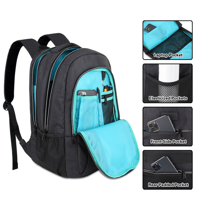 Multi Compartments Backpack for Multipurpose Travel (Black, Polyester)