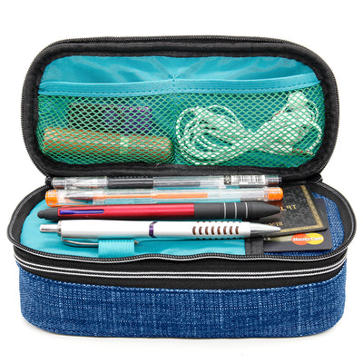 Square Dual Compartments and Handle Strap Pencil Case Mesh, Slot Pockets (Denim Jean Style, Canvas) - JEMIA Industrial Co. Ltd