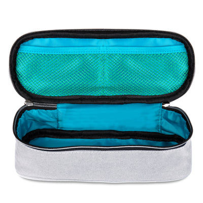 Square Compartments Pencil Case with Mesh Pockets (Plain, Canvas) - JEMIA