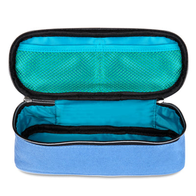 Square Compartments Pencil Case with Mesh Pockets (Plain, Canvas) - JEMIA Industrial Co. Ltd