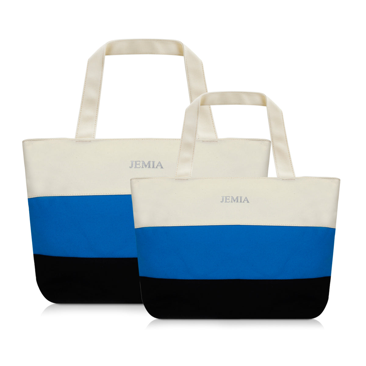 White-Blue-Black Stripes Canvas Tote Bag
