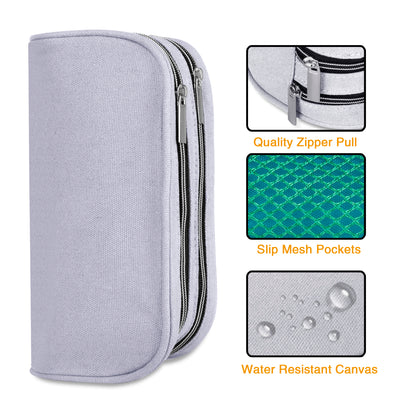Dual Compartments Pencil Case with Mesh Pockets (Plain, Canvas) - JEMIA Industrial Co. Ltd