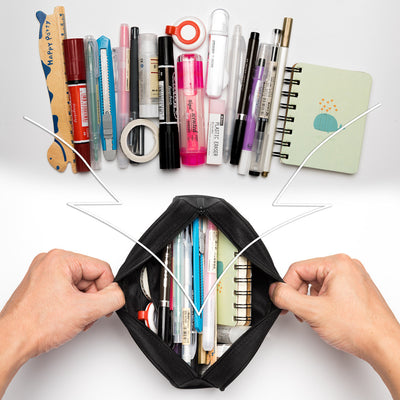Single Compartment Pencil Case with Mesh, Zip Pockets(Plain, Polyester) - JEMIA