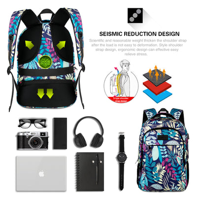 Leaves Style Backpack with Multi Compartments and Laptop Compartment - JEMIA Industrial Co. Ltd