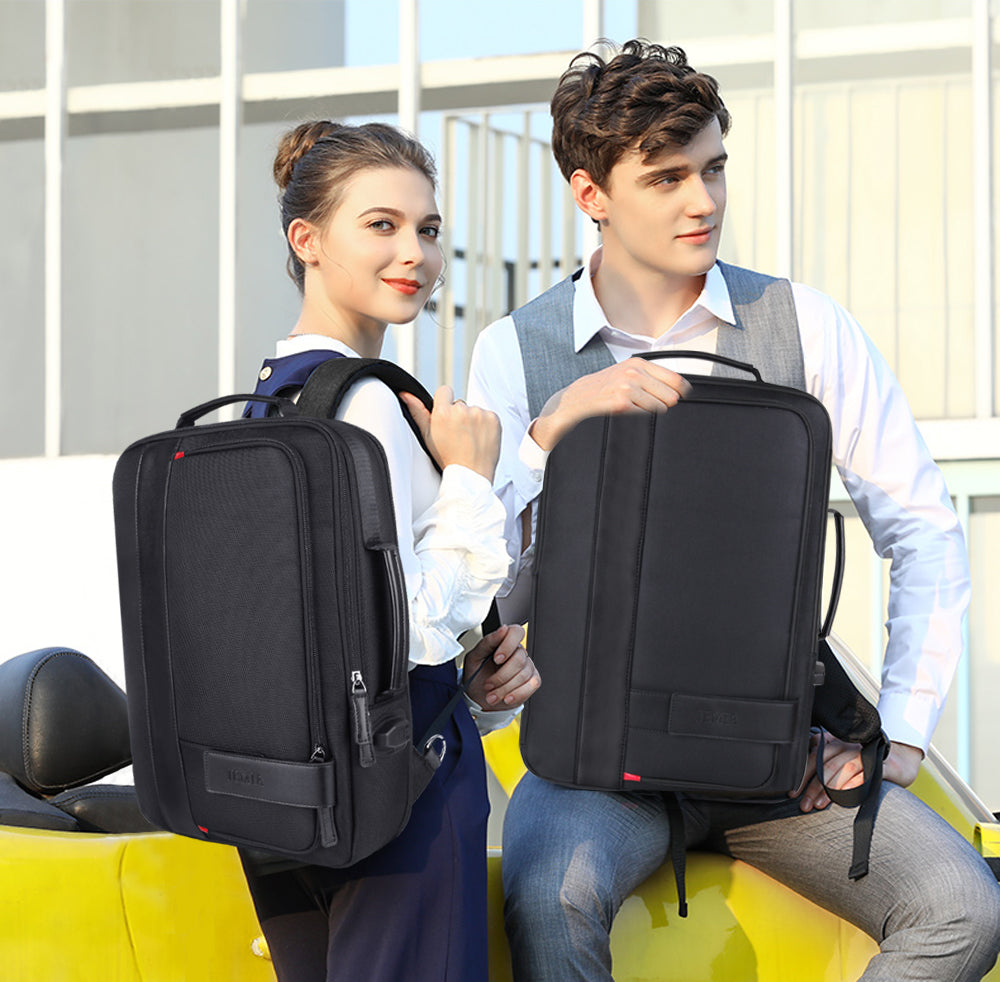 2d59d479369d Black Expandable Backpack with USB Charging Port and Laptop ...