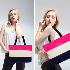 Pink, White, Blue Stripes Canvas Tote Bag - JEMIA Industrial Co. Ltd