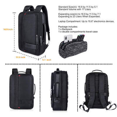 Black Expandable Backpack with USB Charging Port and Laptop Compartment - JEMIA Industrial Co. Ltd
