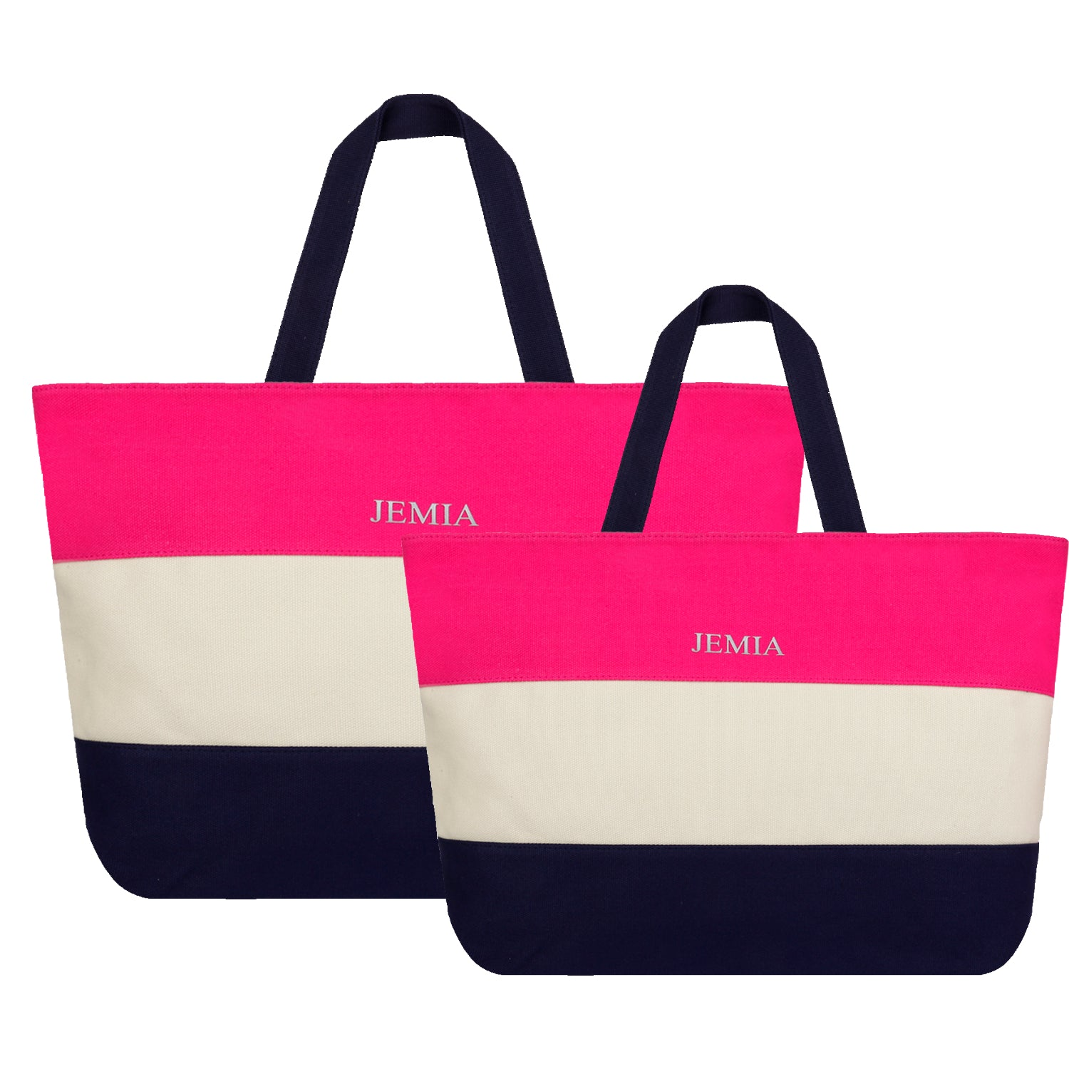 Pink, White, Blue Stripes Canvas Tote Bag