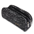 Black & Random White Pencil Case with 2 Independent Compartments