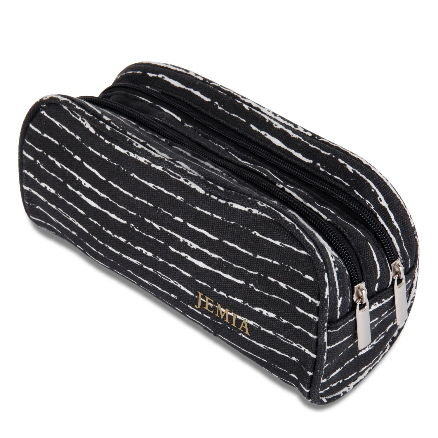 Dual Compartments Pencil Case with Mesh Pockets (Black with Random White, Canvas)