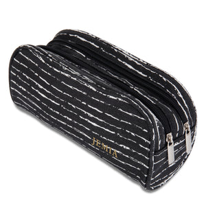 Black & Random White Pencil Case with 2 Independent Compartments - JEMIA Industrial Co. Ltd
