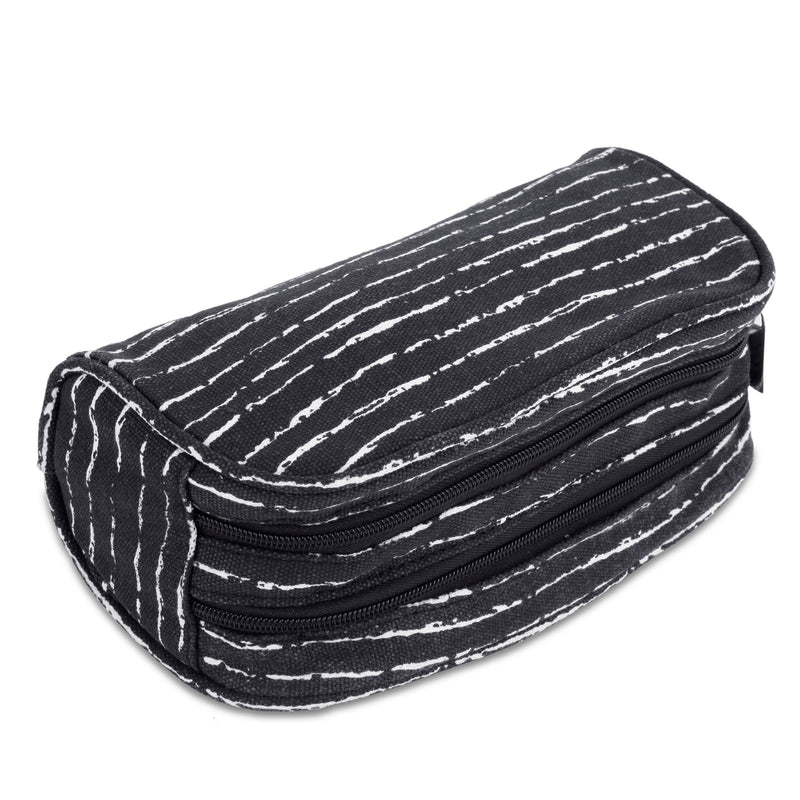 Dual Compartments Pencil Case with Mesh Pockets (Black with Random White, Canvas) - JEMIA