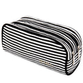 Black & White Stripes Pencil Case with 2 Independent Compartments
