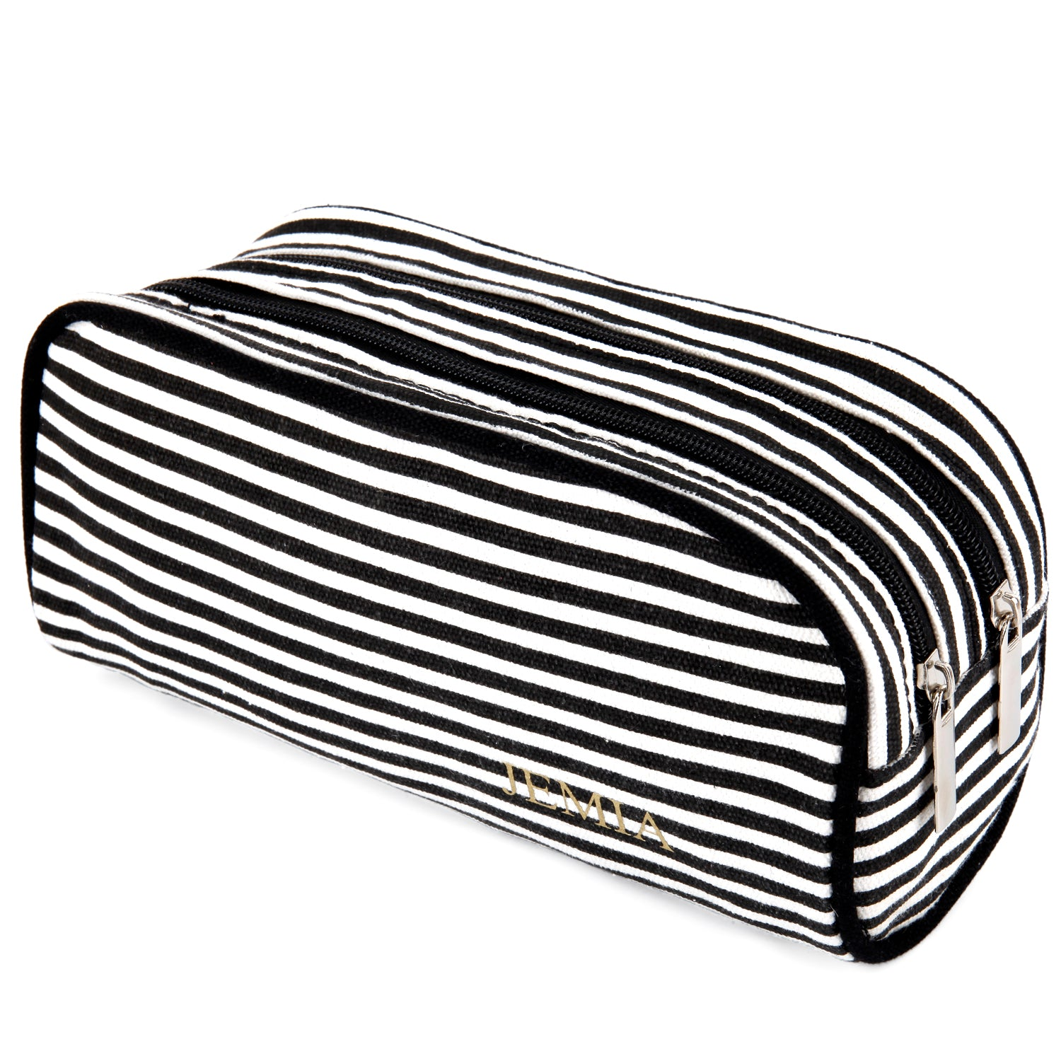 Dual Compartments Pencil Case with Mesh Pockets (Black White Stripes, Canvas) - JEMIA