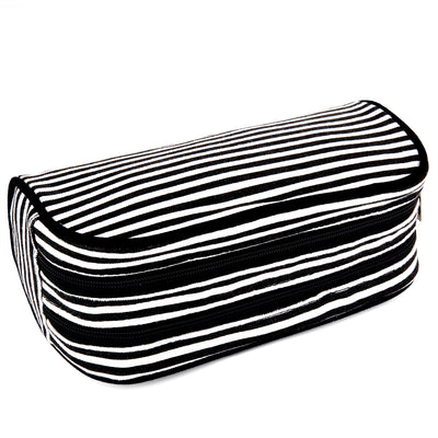 Dual Compartments Pencil Case with Mesh Pockets (Black White Stripes, Canvas) - JEMIA Industrial Co. Ltd
