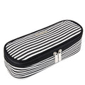Black & White Stripes Pencil Case with Mesh Slip Pocket