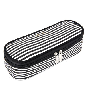 Black and White Stripes Pencil Case - Compartment Within 2 Slip Pockets Organizer Storage - School Pen Zipper Pouch Bag to Hold Pencils, Marker Supplies for Teen Girls, Boys, Kids