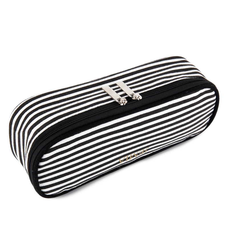 Square Compartments Pencil Case with Mesh Pockets (Black White Stripes, Canvas) - JEMIA