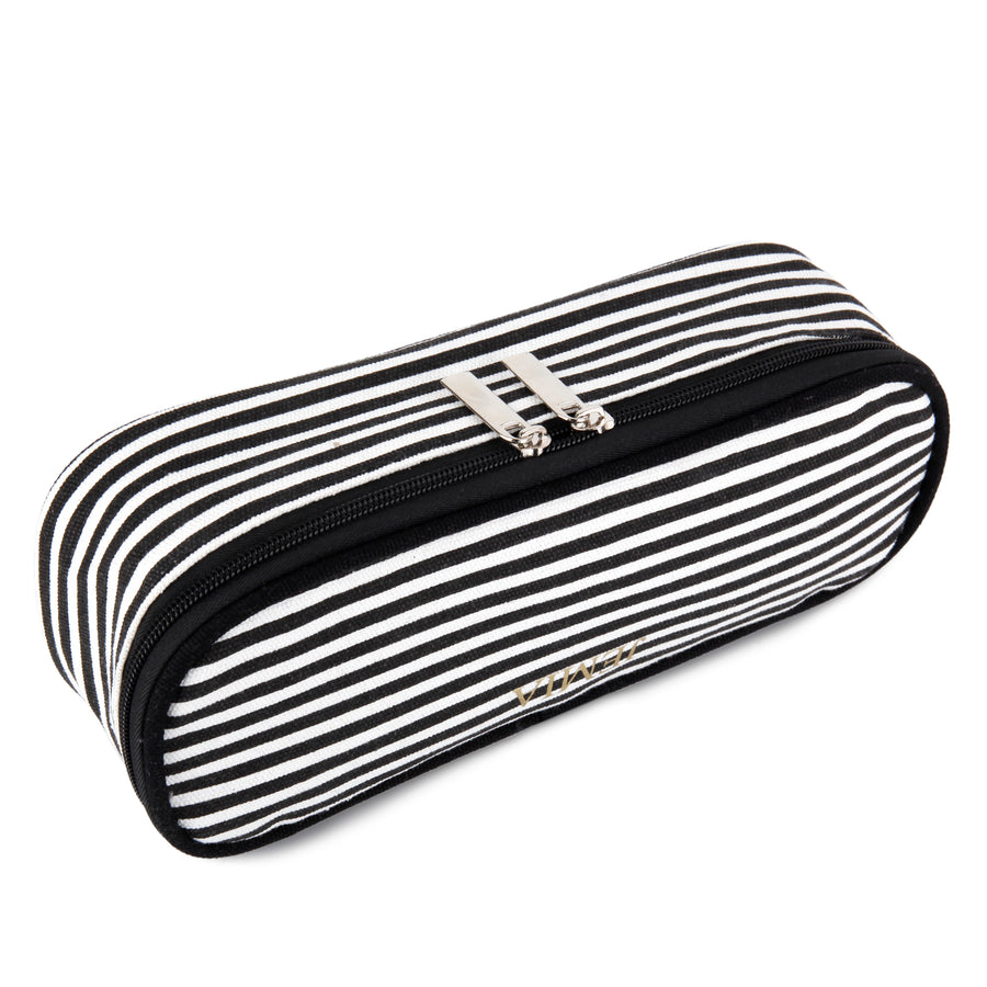 Black & White Stripes Pencil Case with Mesh Slip Pocket - JEMIA Industrial Co. Ltd