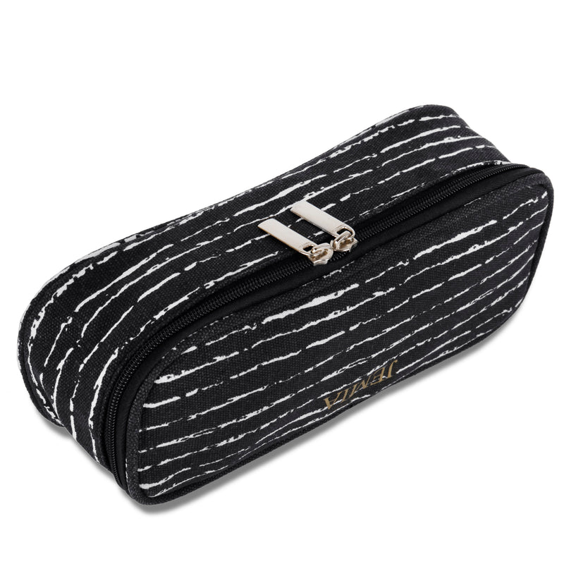 Square Compartments Pencil Case with Mesh Pockets (Black with Random White, Canvas) - JEMIA Industrial Co. Ltd
